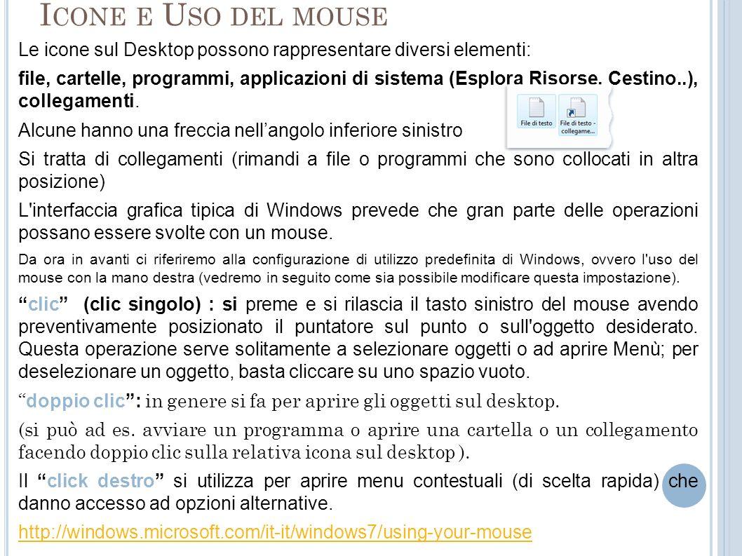 Icone e Uso del mouse Le icone sul Desktop possono rappresentare diversi elementi: