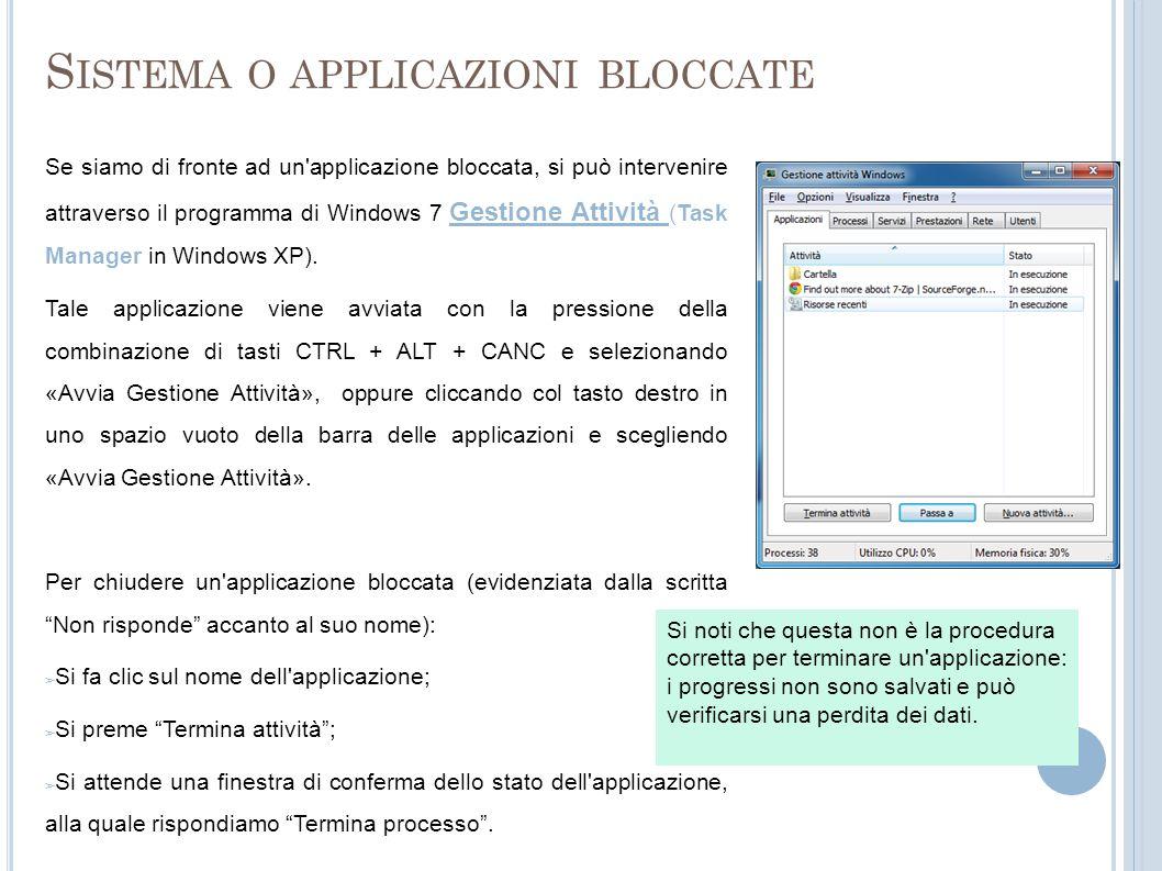 Sistema o applicazioni bloccate