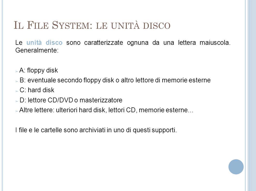 Il File System: le unità disco