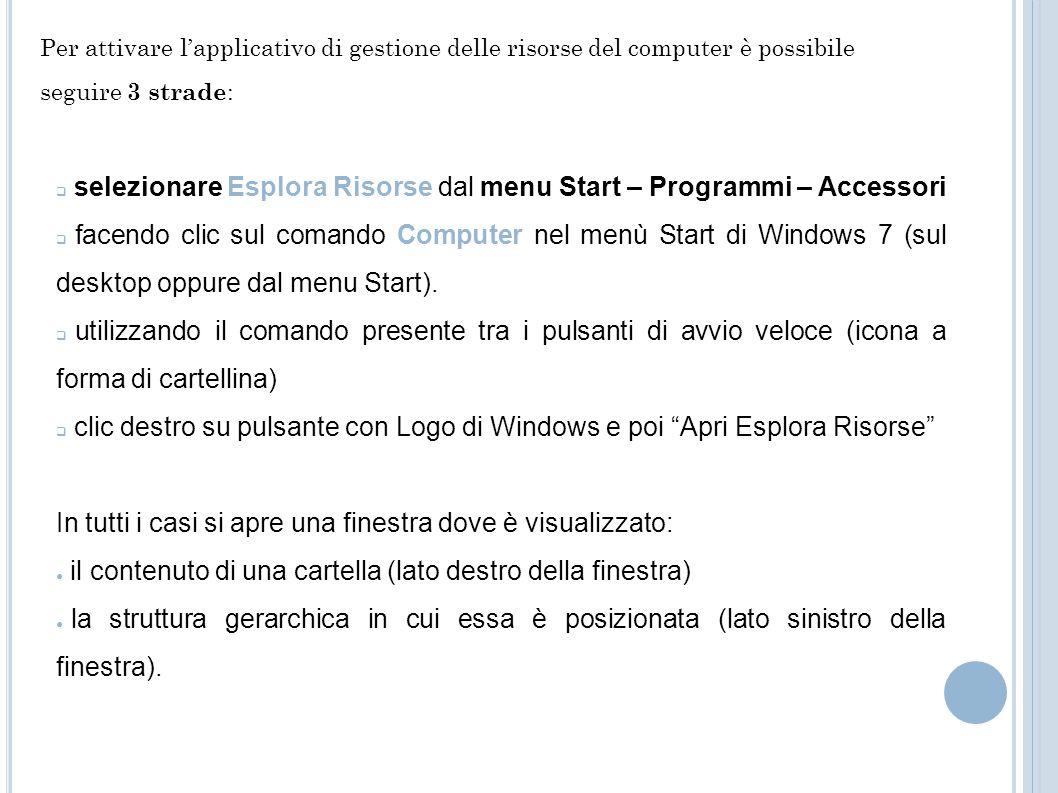 selezionare Esplora Risorse dal menu Start – Programmi – Accessori