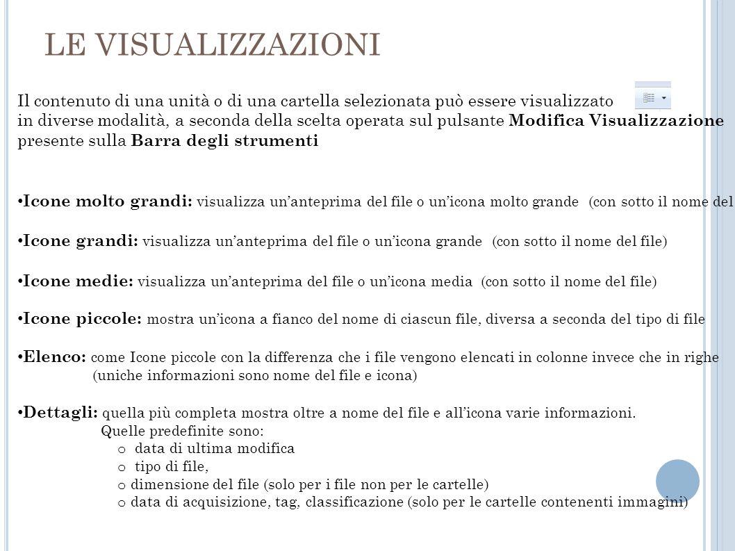LE VISUALIZZAZIONI Il contenuto di una unità o di una cartella selezionata può essere visualizzato.