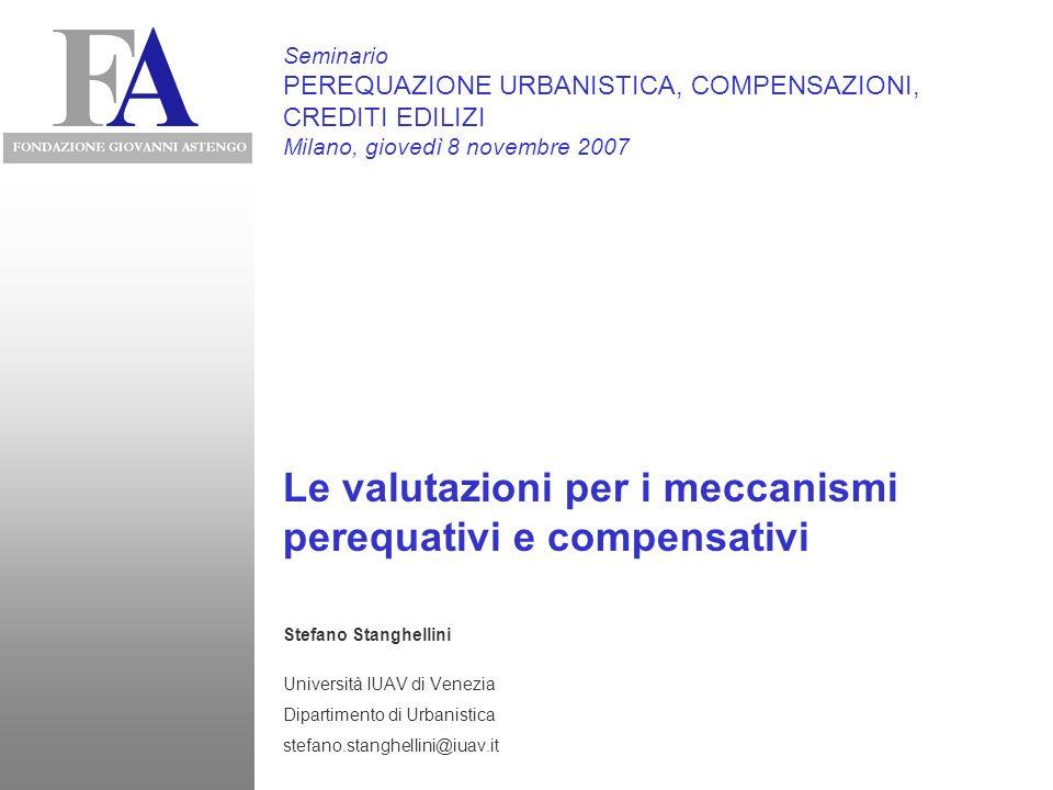 Le valutazioni per i meccanismi perequativi e compensativi