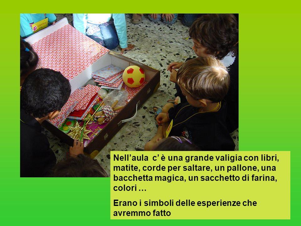 Nell'aula c' è una grande valigia con libri, matite, corde per saltare, un pallone, una bacchetta magica, un sacchetto di farina, colori …