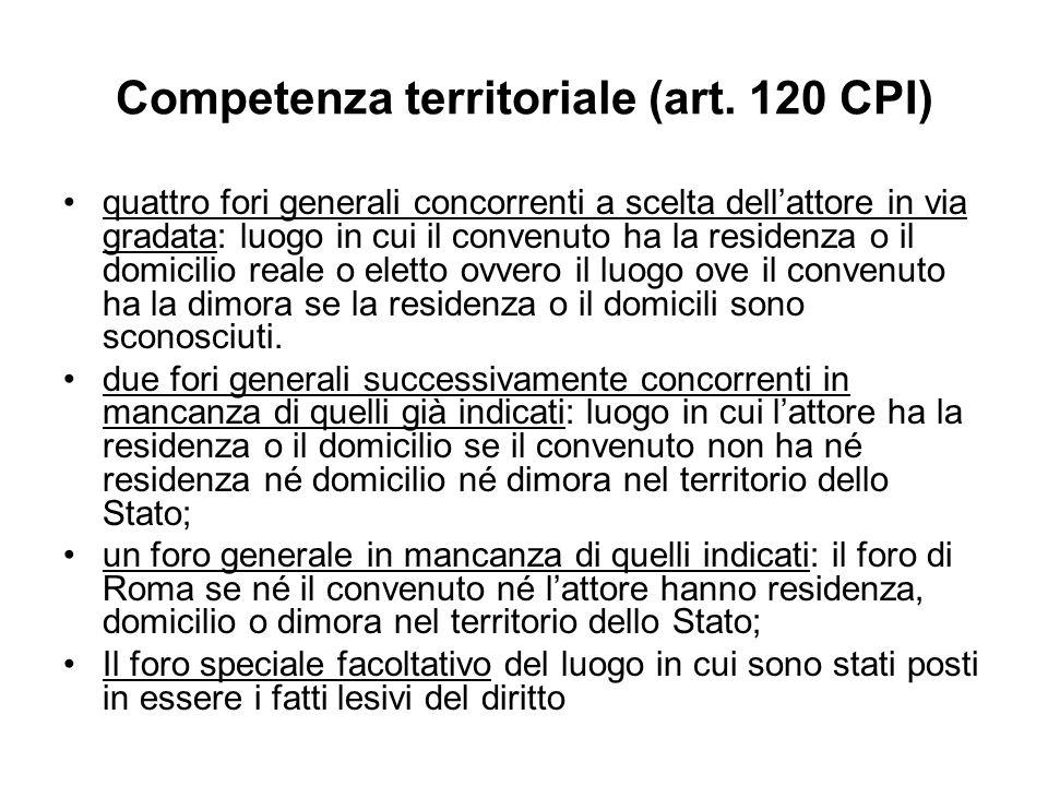 Competenza territoriale (art. 120 CPI)