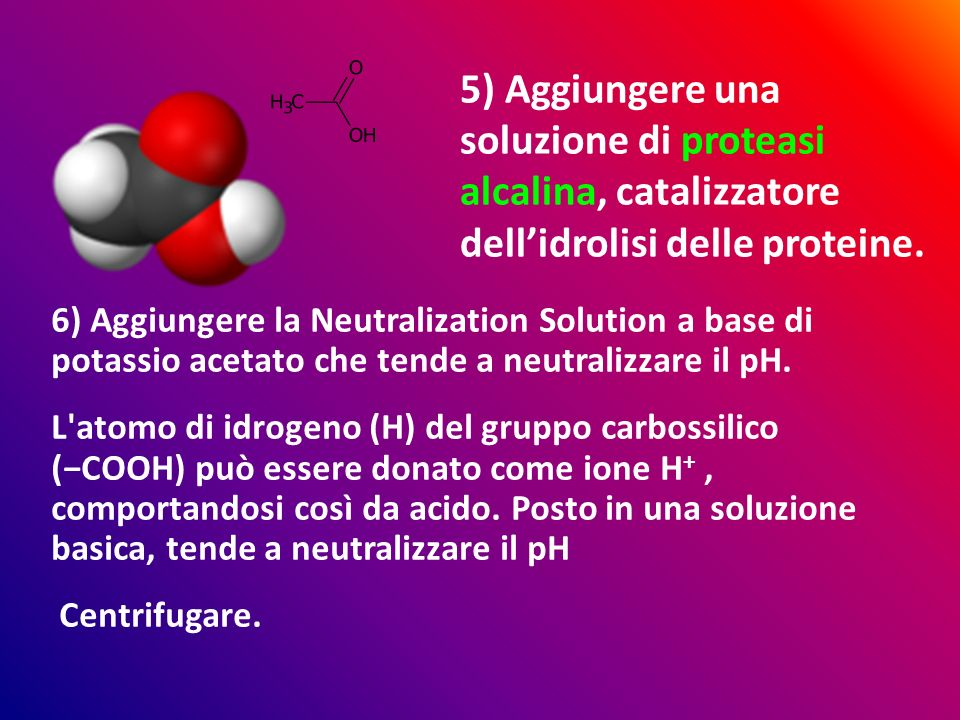6) Aggiungere la Neutralization Solution a base di potassio acetato che tende a neutralizzare il pH.