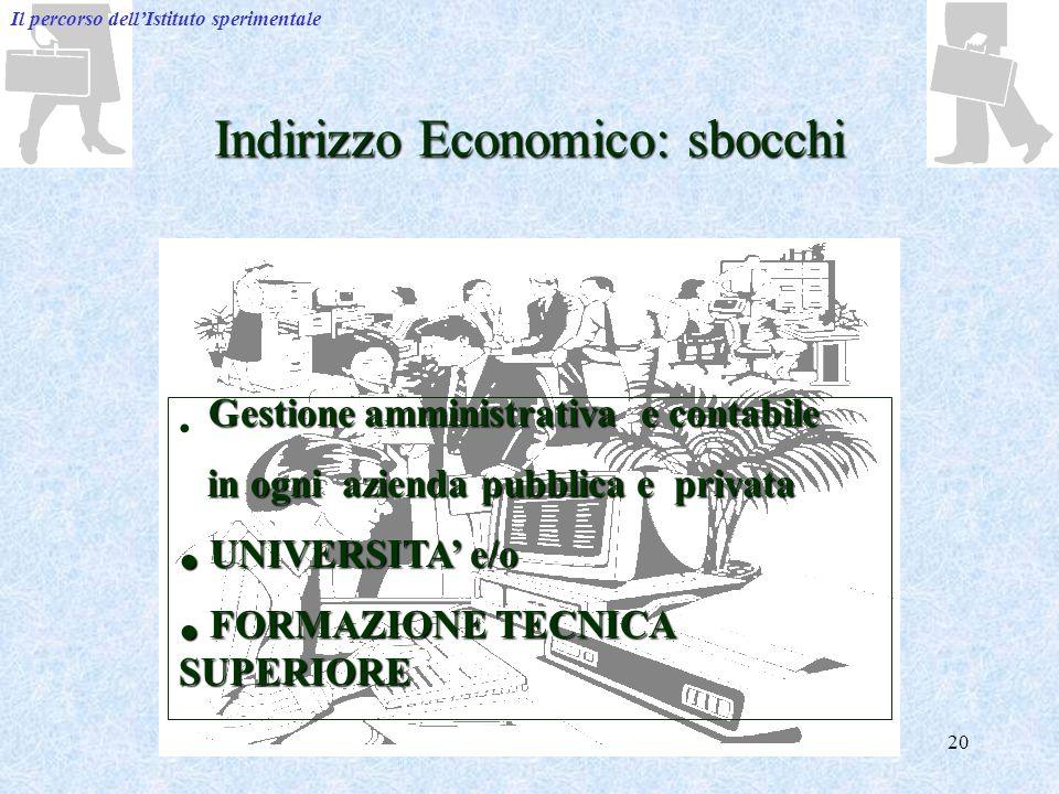 Indirizzo Economico: sbocchi