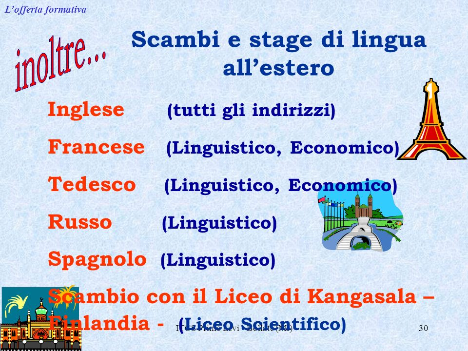 Scambi e stage di lingua all'estero