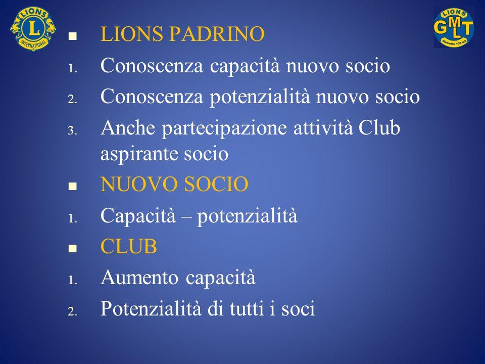 LIONS PADRINO Conoscenza capacità nuovo socio. Conoscenza potenzialità nuovo socio. Anche partecipazione attività Club aspirante socio.