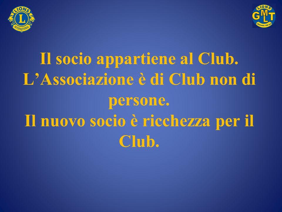 Il socio appartiene al Club. L'Associazione è di Club non di persone