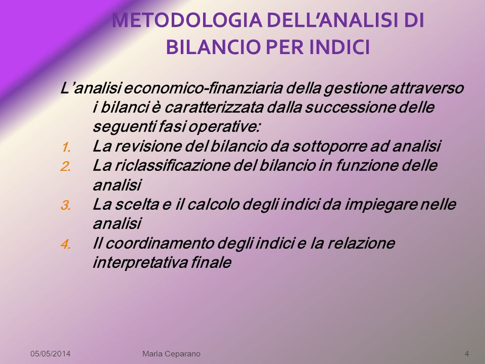 METODOLOGIA DELL'ANALISI DI BILANCIO PER INDICI