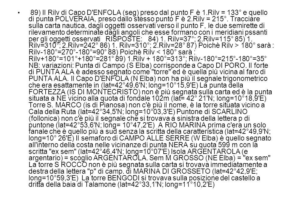 89) Il Rilv di Capo D ENFOLA (seg) preso dal punto F è 1