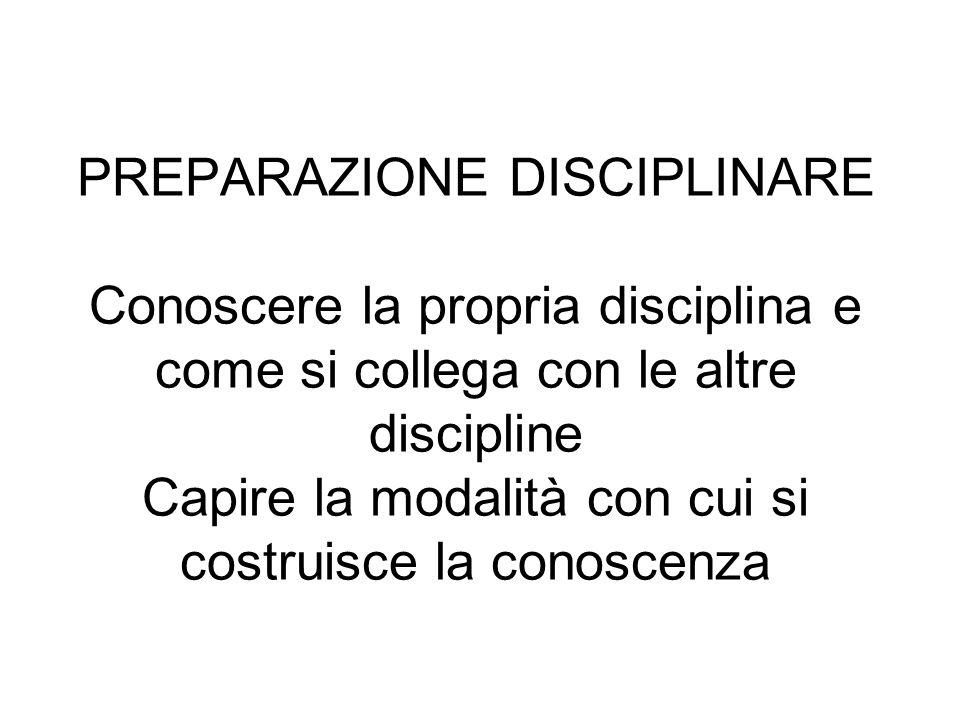 PREPARAZIONE DISCIPLINARE Conoscere la propria disciplina e come si collega con le altre discipline Capire la modalità con cui si costruisce la conoscenza