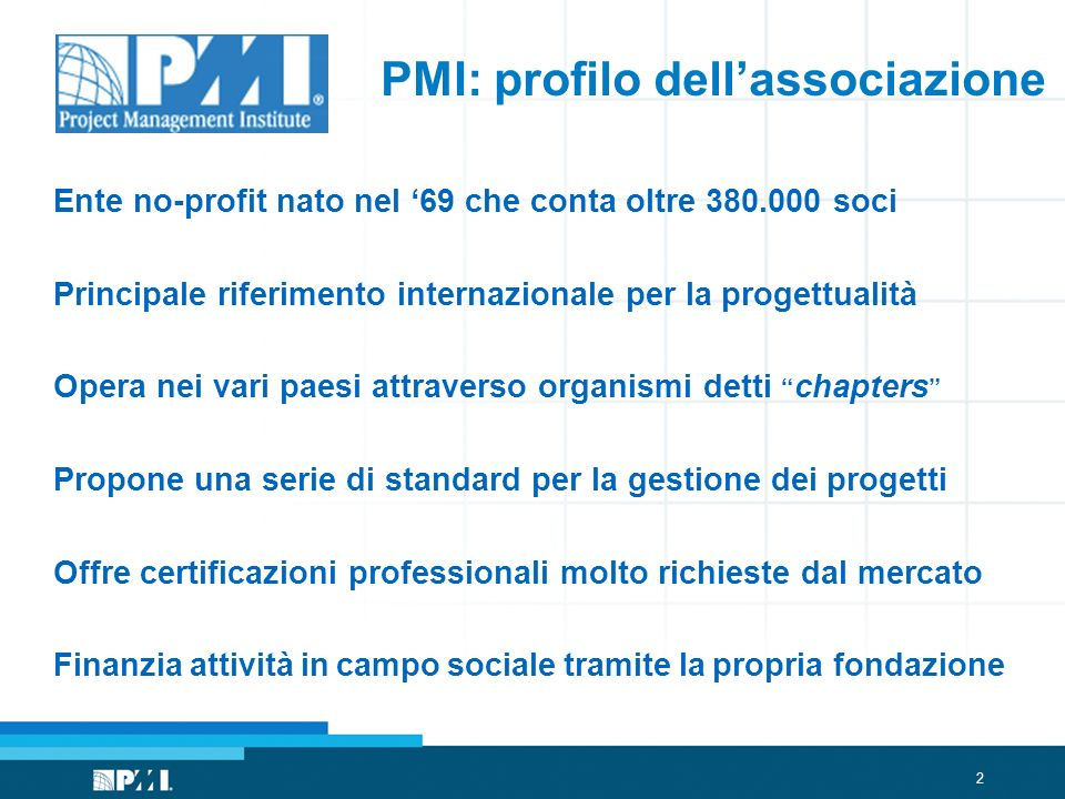 PMI: profilo dell'associazione