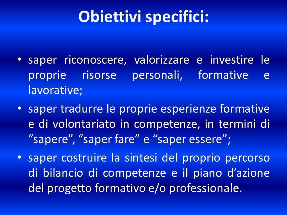 Obiettivi specifici: saper riconoscere, valorizzare e investire le proprie risorse personali, formative e lavorative;