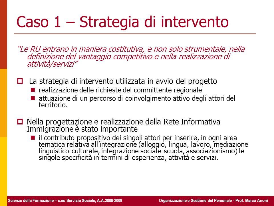 Caso 1 – Strategia di intervento