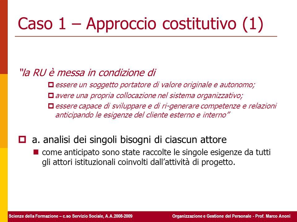 Caso 1 – Approccio costitutivo (1)