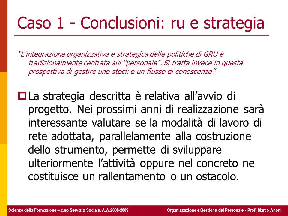 Caso 1 - Conclusioni: ru e strategia