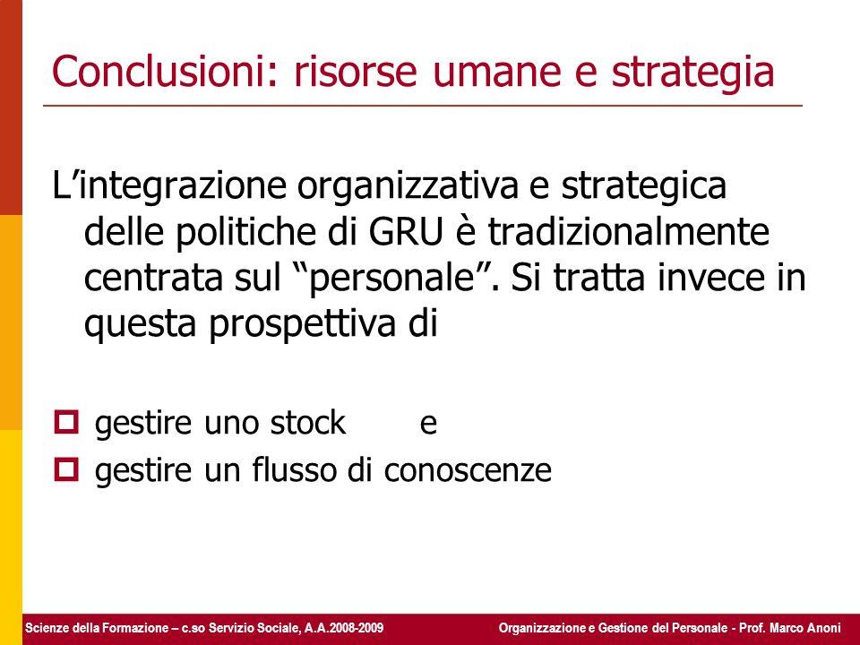 Conclusioni: risorse umane e strategia