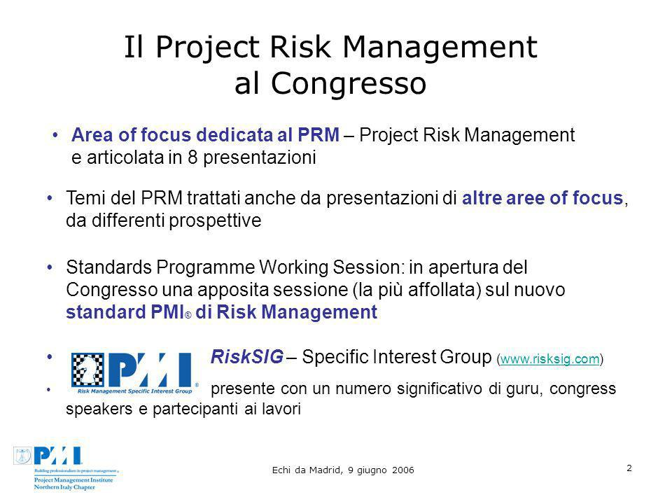 Il Project Risk Management al Congresso