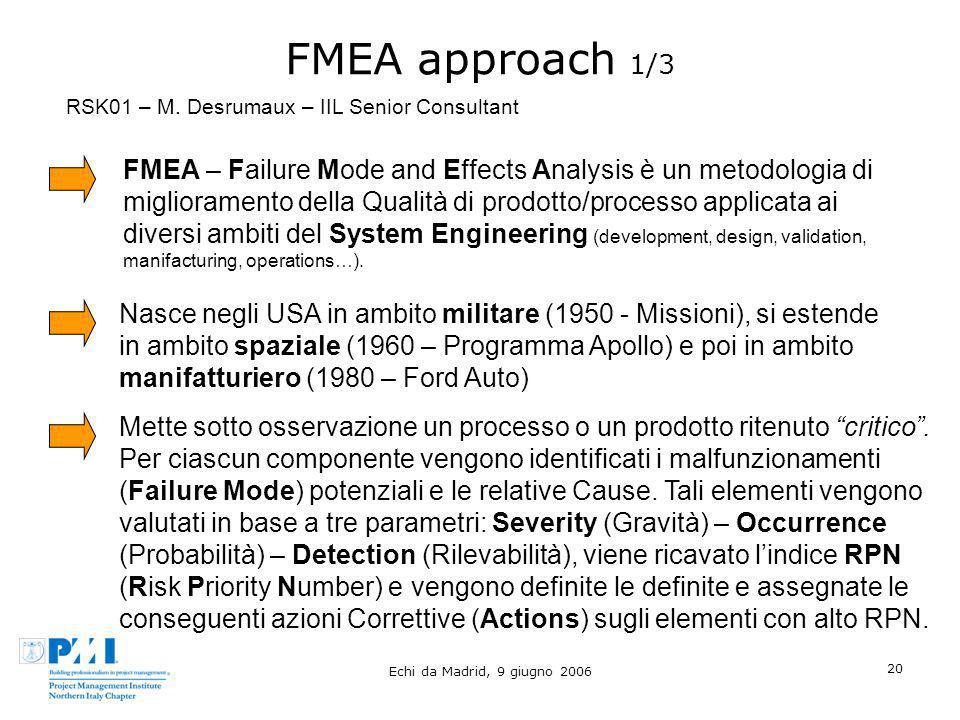 FMEA approach 1/3 RSK01 – M. Desrumaux – IIL Senior Consultant.