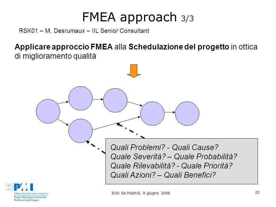 FMEA approach 3/3RSK01 – M. Desrumaux – IIL Senior Consultant.