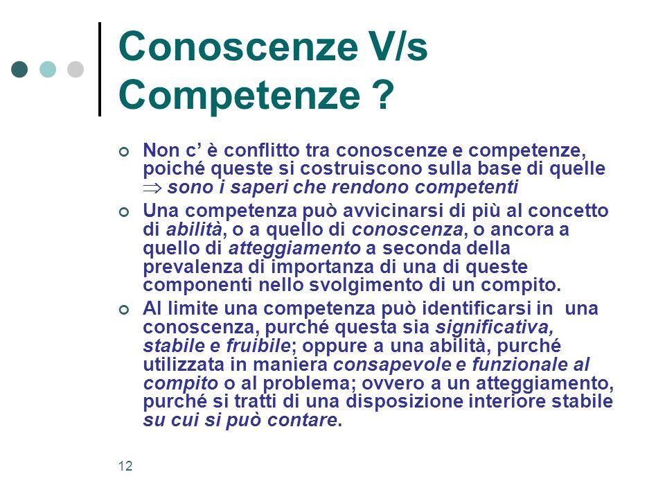 Conoscenze V/s Competenze