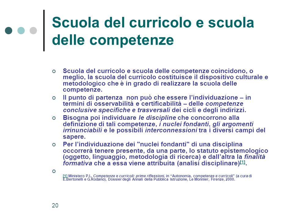 Scuola del curricolo e scuola delle competenze