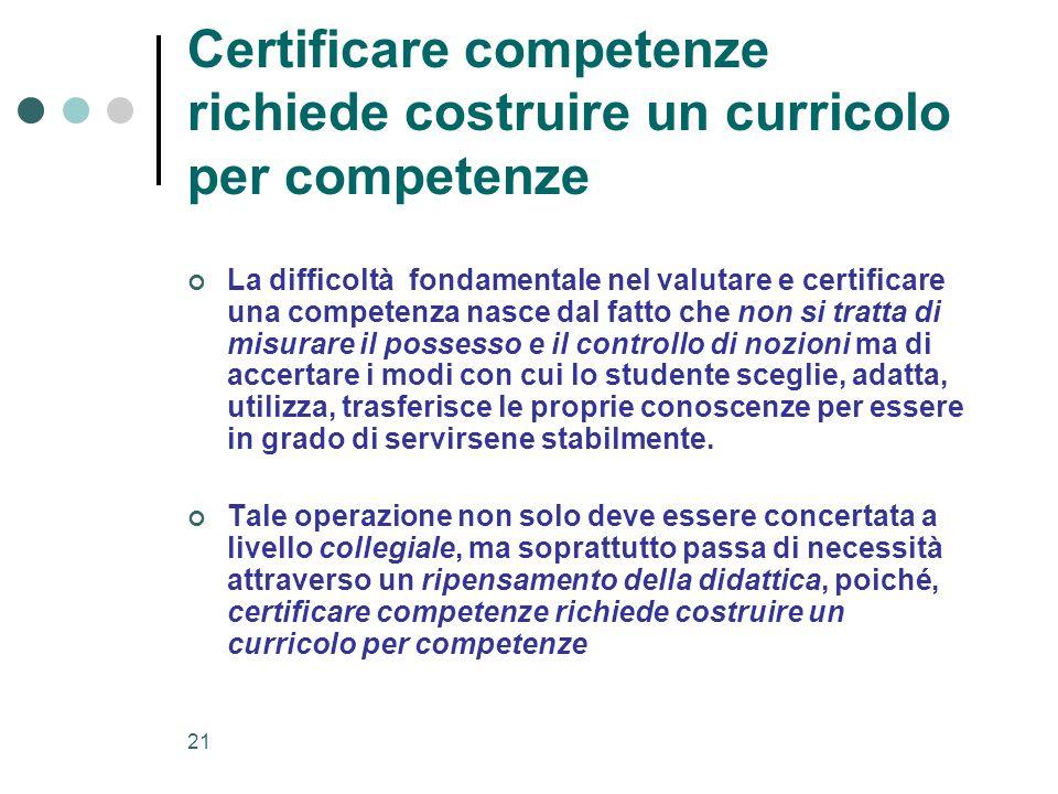 Certificare competenze richiede costruire un curricolo per competenze