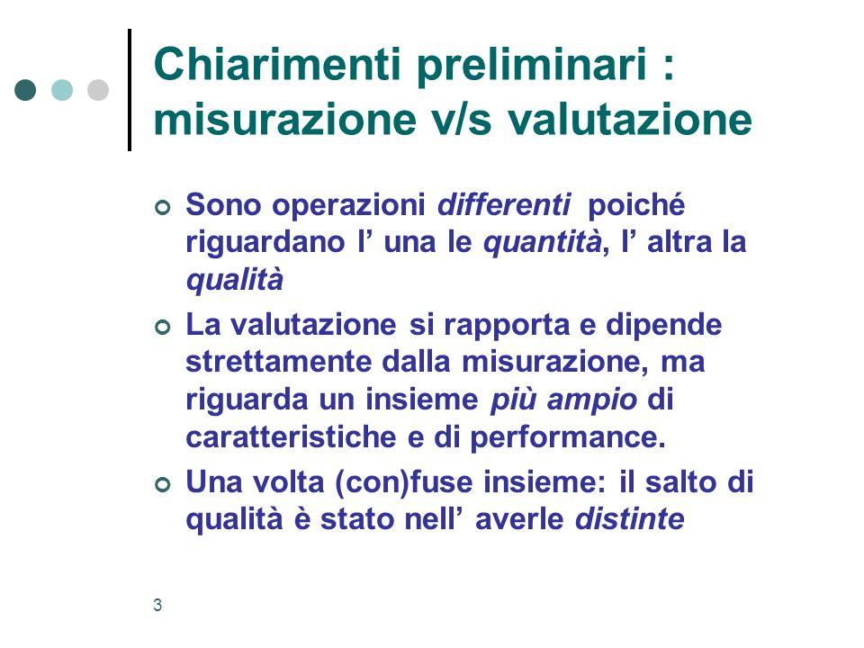 Chiarimenti preliminari : misurazione v/s valutazione