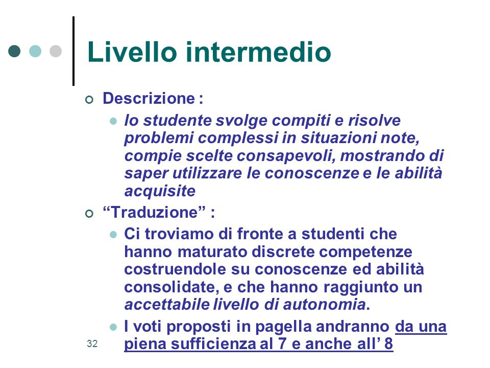 Livello intermedio Descrizione :