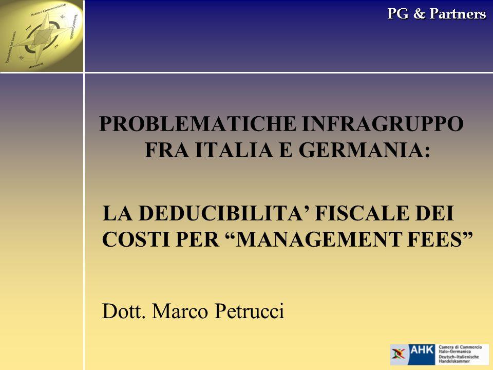PROBLEMATICHE INFRAGRUPPO FRA ITALIA E GERMANIA: