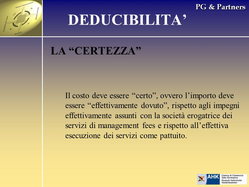 DEDUCIBILITA' LA CERTEZZA