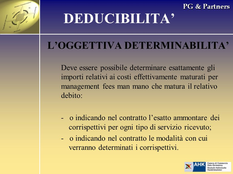 DEDUCIBILITA' L'OGGETTIVA DETERMINABILITA'