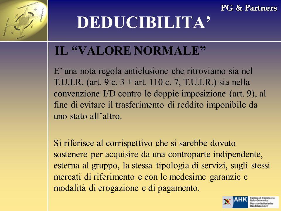 DEDUCIBILITA' IL VALORE NORMALE