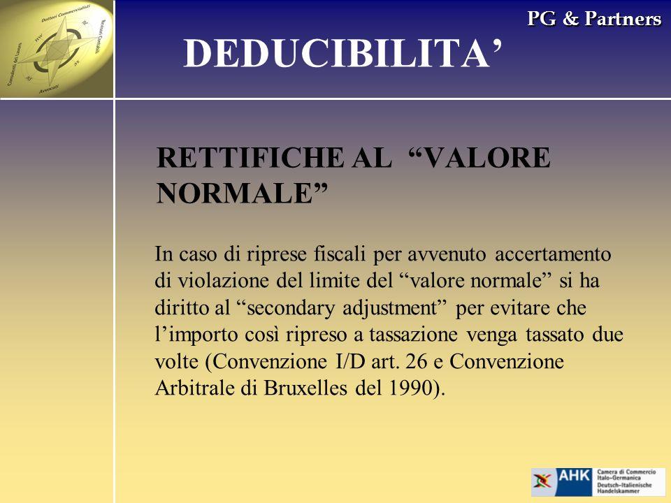 DEDUCIBILITA' RETTIFICHE AL VALORE NORMALE