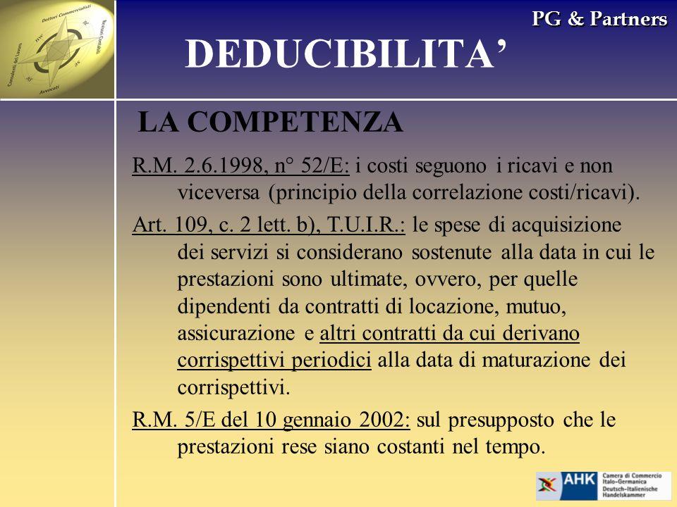 DEDUCIBILITA' LA COMPETENZA