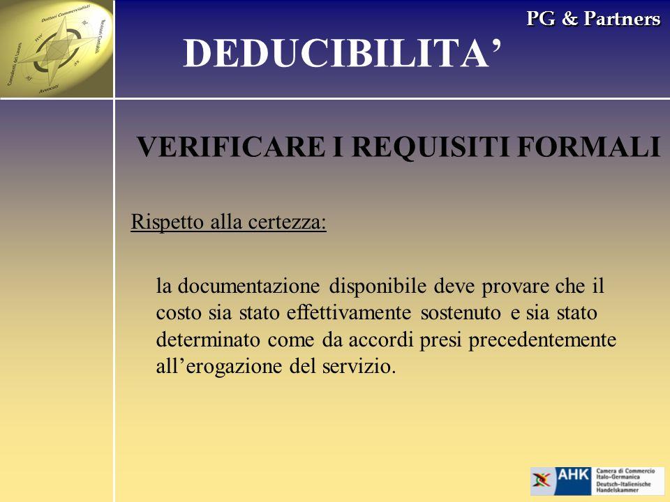 DEDUCIBILITA' VERIFICARE I REQUISITI FORMALI Rispetto alla certezza: