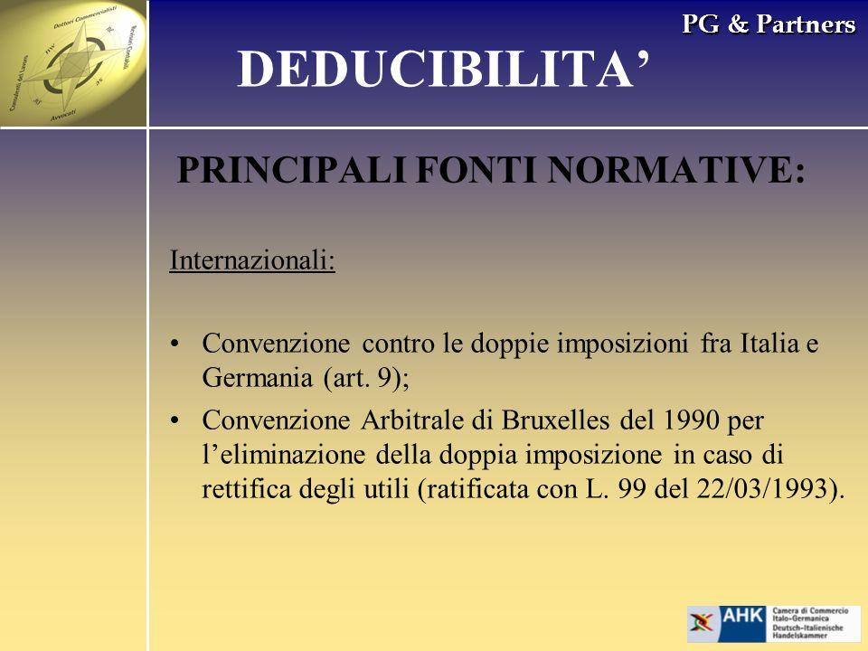 DEDUCIBILITA' PRINCIPALI FONTI NORMATIVE: Internazionali: