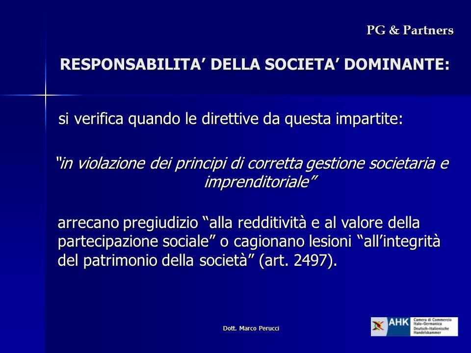 RESPONSABILITA' DELLA SOCIETA' DOMINANTE: