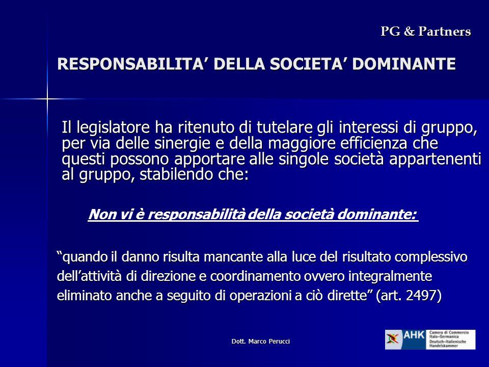 RESPONSABILITA' DELLA SOCIETA' DOMINANTE