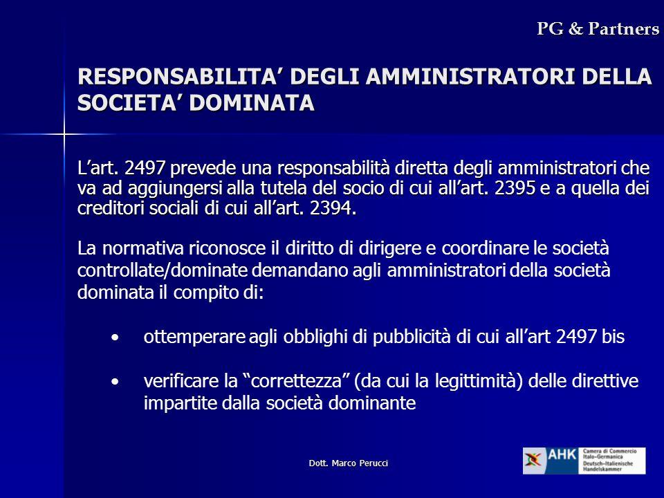 RESPONSABILITA' DEGLI AMMINISTRATORI DELLA SOCIETA' DOMINATA
