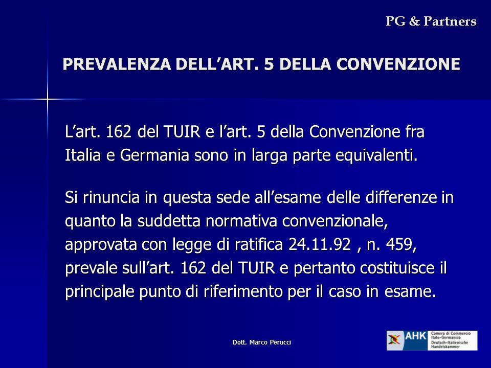 PREVALENZA DELL'ART. 5 DELLA CONVENZIONE