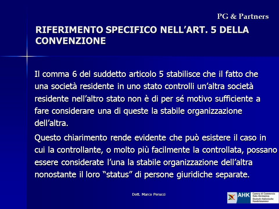 RIFERIMENTO SPECIFICO NELL'ART. 5 DELLA CONVENZIONE