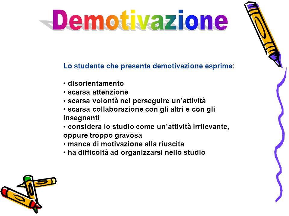 Demotivazione Lo studente che presenta demotivazione esprime: