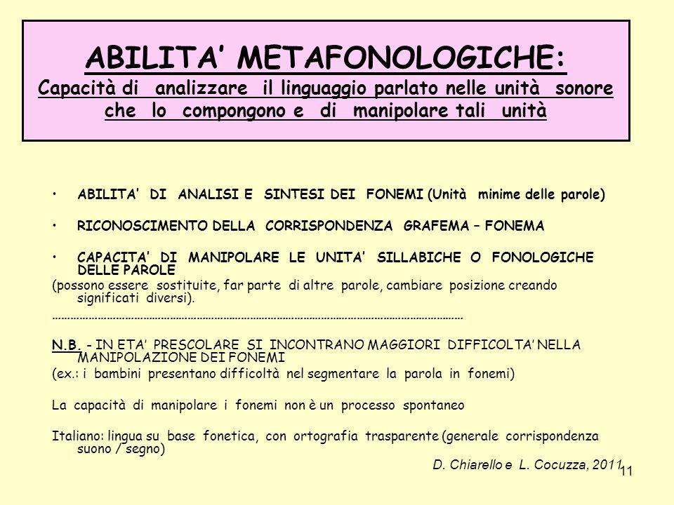 ABILITA' METAFONOLOGICHE: Capacità di analizzare il linguaggio parlato nelle unità sonore che lo compongono e di manipolare tali unità