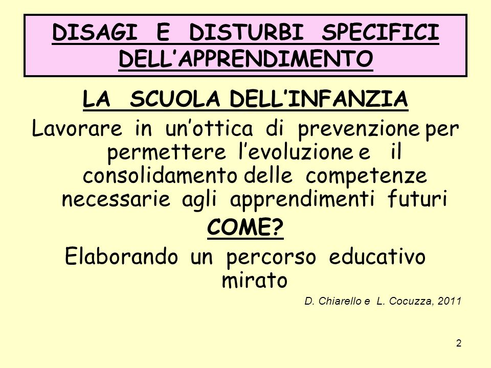 DISAGI E DISTURBI SPECIFICI DELL'APPRENDIMENTO
