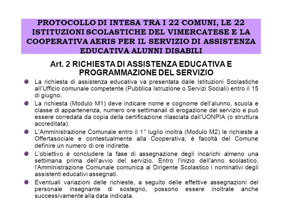Art. 2 RICHIESTA DI ASSISTENZA EDUCATIVA E PROGRAMMAZIONE DEL SERVIZIO