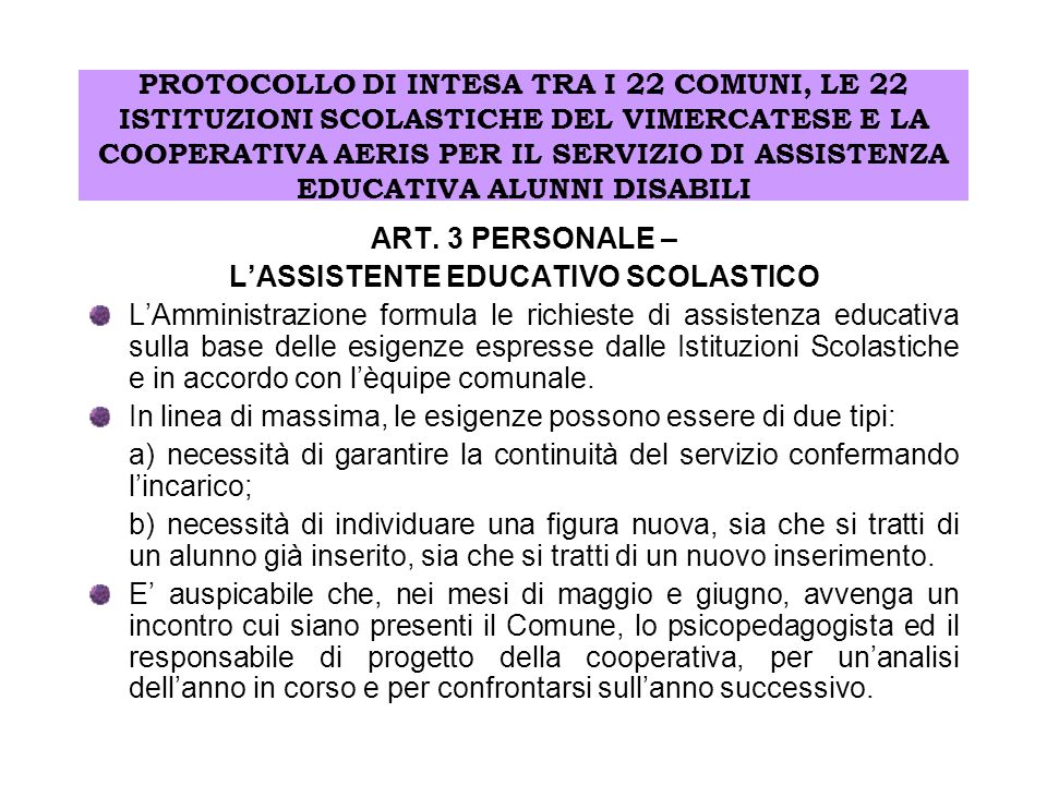 L'ASSISTENTE EDUCATIVO SCOLASTICO