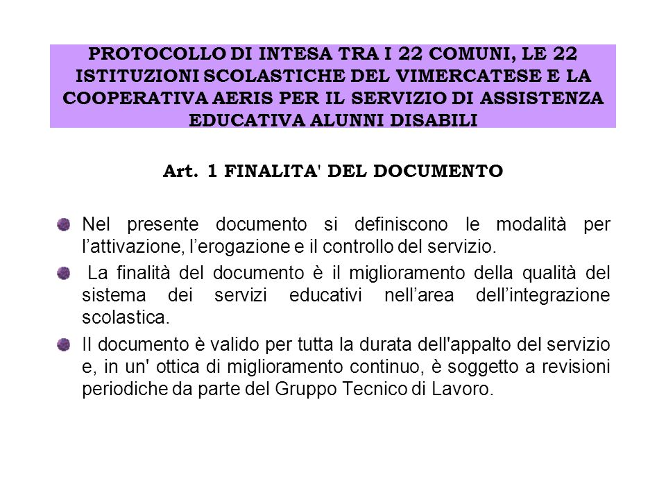 Art. 1 FINALITA DEL DOCUMENTO