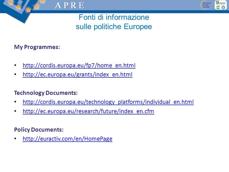 Fonti di informazione sulle politiche Europee